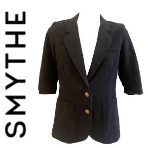 SMYTHE brown fully lined cotton short sleeve blazer with gold crest buttons